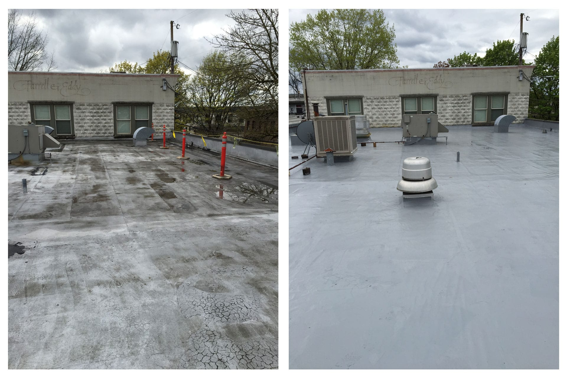 Roof recoat before and after in Washougal, Wa