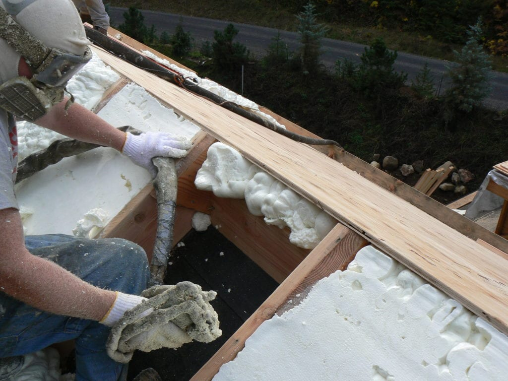 Spray Foam Installation in progress