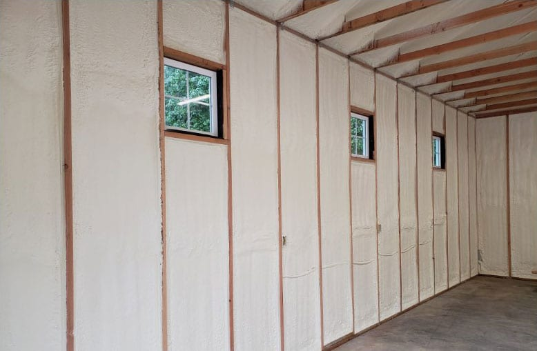Spray foam insulation in exposed walls