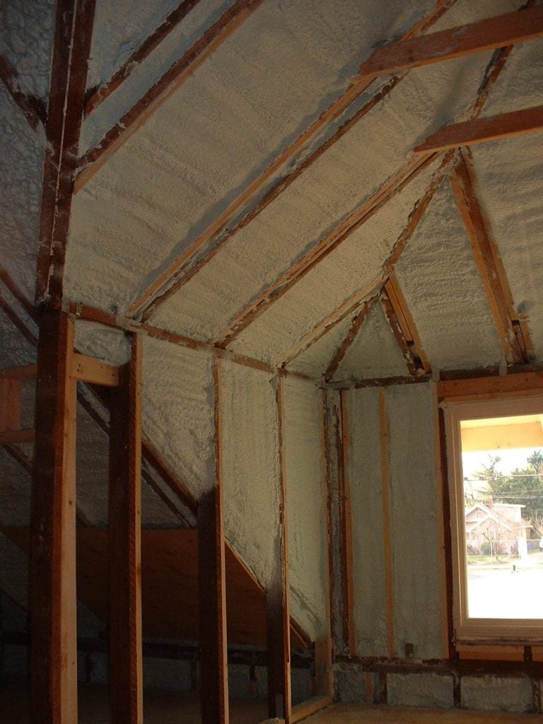 Home remodel using closed cell to insulate and shore up.