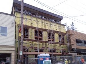 Portland commercial building receiving closed cell for Continuous Insulation.